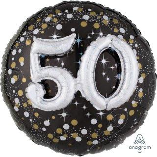 Luftballon Zahl 50 3D Effekt holographisch funkelnd Schwarz Silber Gold Folie ø91cm