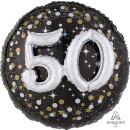 Luftballon Zahl 50 3D Effekt holographisch funkelnd...