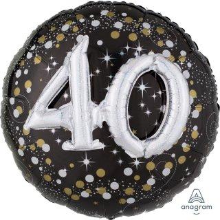Luftballon Zahl 40 3D Effekt holographisch funkelnd Schwarz Silber Gold Folie ø91cm