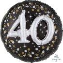 Luftballon Zahl 40 3D Effekt holographisch funkelnd...