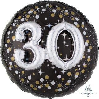 Luftballon Zahl 30 3D Effekt holographisch funkelnd Schwarz Silber Gold Folie ø91cm