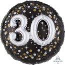 Luftballon Zahl 30 3D Effekt holographisch funkelnd...