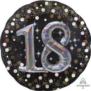 Luftballon Zahl 18 3D Effekt holographisch funkelnd Schwarz Silber Gold Folie ø91cm