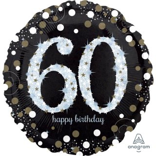 Luftballon Zahl 60 Happy Birthday holographisch funkelnd Schwarz Silber Gold Folie ø45cm