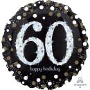 Luftballon Zahl 60 Happy Birthday holographisch funkelnd...