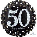 Luftballon Zahl 50 Happy Birthday holographisch funkelnd...