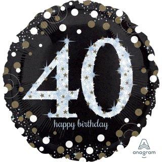 Luftballon Zahl 40 Happy Birthday holographisch funkelnd Schwarz Silber Gold Folie ø45cm