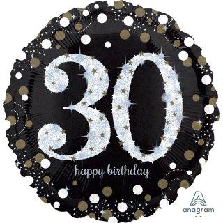 Luftballon Zahl 30 Happy Birthday holographisch funkelnd Schwarz Silber Gold Folie ø45cm
