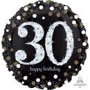 Luftballon Zahl 30 Happy Birthday holographisch funkelnd...