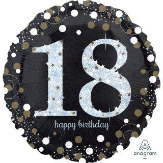 Luftballon Zahl 18 Happy Birthday holographisch funkelnd Schwarz Silber Gold Folie ø45cm