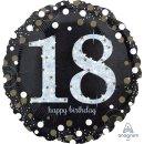 Luftballon Zahl 18 Happy Birthday holographisch funkelnd...