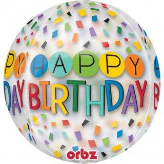 Luftballon Happy Birthday Bunt Orbz kugelrund Folie ø40cm