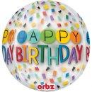 Luftballon Happy Birthday Bunt Orbz kugelrund Folie...