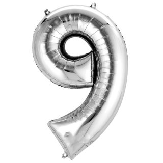 Luftballon Zahl 9 Silber Folie 66cm