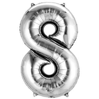 Luftballon Zahl 8 Silber Folie 66cm