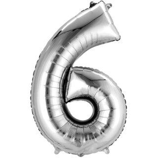 Luftballon Zahl 6 Silber Folie 66cm