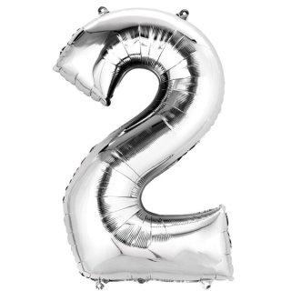Luftballon Zahl 2 Silber Folie 66cm
