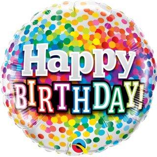Luftballon Happy Birthday Konfetti Folie ø45cm