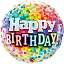 Folienballon HAPPY BIRTHDAY Confetti ø45 cm ungefüllt