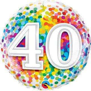 Luftballon Zahl 40 Konfetti Bunt Folie ø45cm