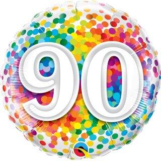 Folienballon Zahl 90 Konfetti bunt ø45 cm ungefüllt