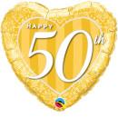 Luftballon Zahl 50 Happy Gold Folie ø45cm
