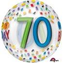 Luftballon Zahl 70 Happy Birthday Klar Orbz kugelrund Folie ø40cm
