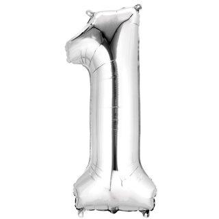 Luftballon Zahl 1 Silber Folie 66cm