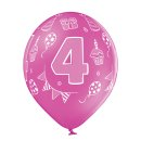 6 Luftballons Zahl 4 Bunt ø30cm