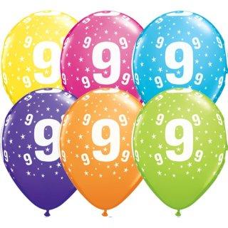 6 Luftballons Zahl 9 Mix ø28cm