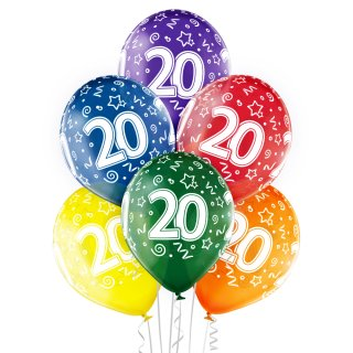 6 Luftballons Zahl 20 Mix ø30cm
