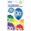 6 Luftballons Zahl 20 Bunt ø30cm