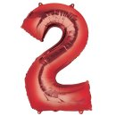Luftballon Zahl 2 Rot Folie ca 86cm