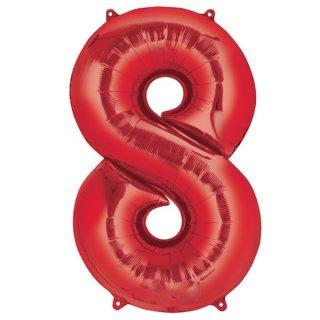 Folienballon Zahl 8 rot ca 86 cm ungefüllt