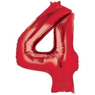 Luftballon Zahl 4 Rot Folie ca 86cm