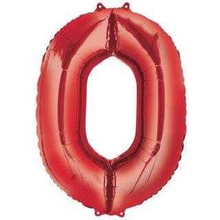 Luftballon Zahl 0 Rot Folie ca 86cm