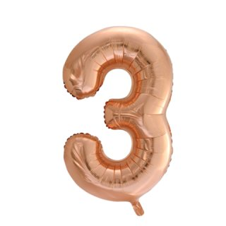 Luftballon Zahl 3 Rosegold Folie ca 86cm