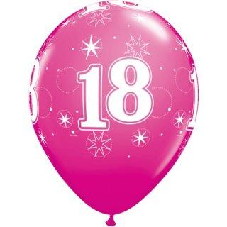 6 Luftballons Zahl 18 pink ø28 cm ungefüllt