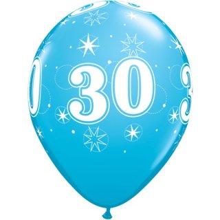 6 Luftballons Zahl 30 Blau ø28cm