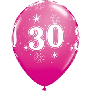 6 Luftballons Zahl 30 pink ø28 cm ungefüllt