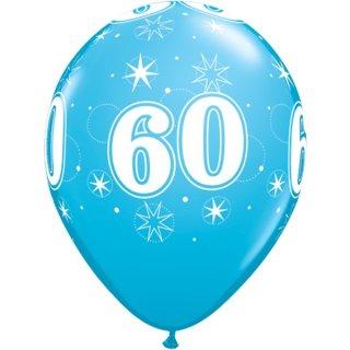 6 Luftballons Zahl 60 Blau ø28cm