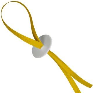 100 Ballonverschlüsse Poly-Fix Gelb mit Band ca 120cm