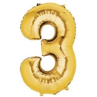 Folienballon Zahl 3 gold 66 cm ungefüllt