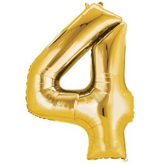 Luftballon Zahl 4 Gold Folie 66cm