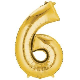 Luftballon Zahl 6 Gold Folie 66cm