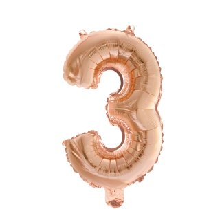 Luftballon Zahl 3 Rosegold Folie 66cm