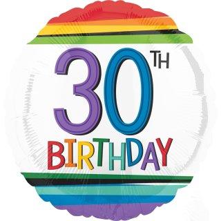 Luftballon Zahl 30 Birthday Bunt Folie ø43cm