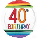 Luftballon Zahl 40 Birthday Bunt Folie ø43cm
