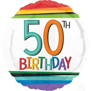 Luftballon Zahl 50 Birthday Bunt Folie ø43cm