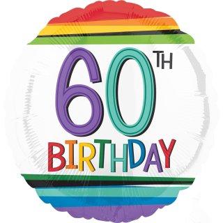 Luftballon Zahl 60 Birthday Bunt Folie ø43cm